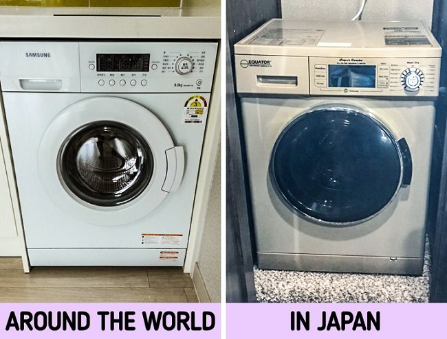 Washing machines with built-in dryers
