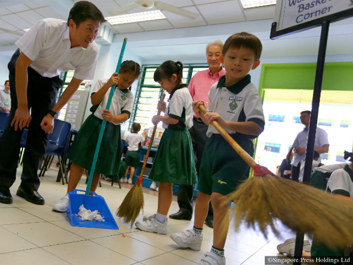 Children clean their schools rather than others