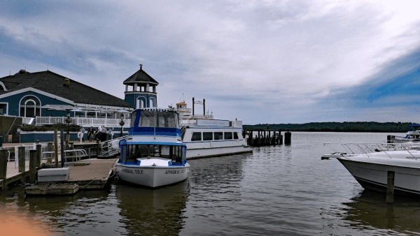 Potomac Riverboat Company water taxi docked at Alexandria Virginia Harbor