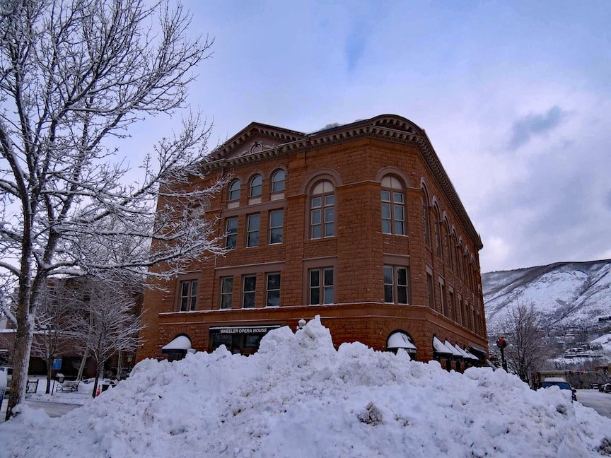 Wheeler Opera House and Aspen has a very high probability of a white christmas