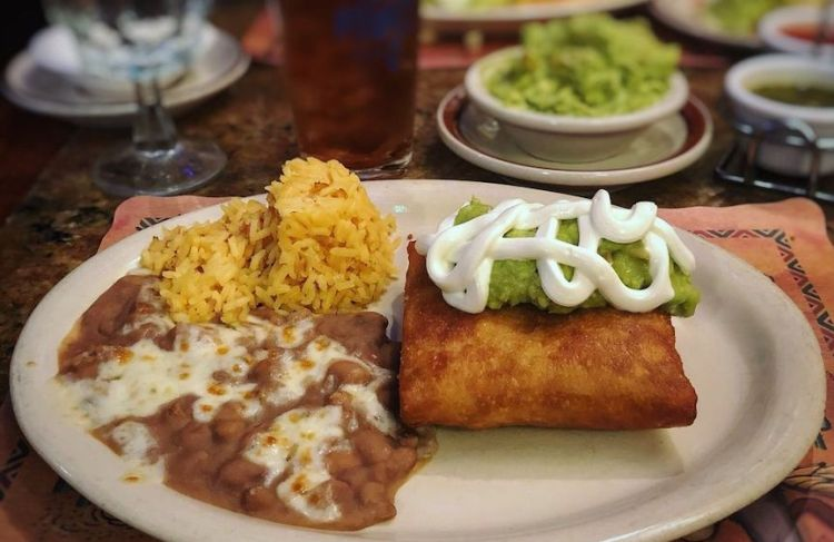 Chimichangas with beans and rice at Tommy's Mexican Restaurant in San Francisco
