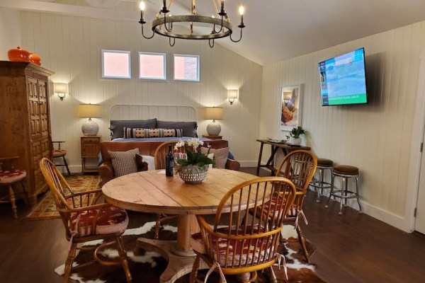 The Bunk House with Dining Room Set and King Bed