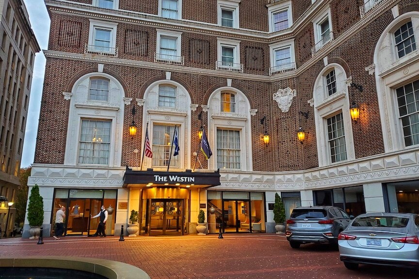 Front entrance to the Westin Poinsett in Greenville South Carolina