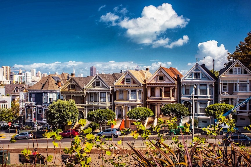 The famous Painted Ladies Victorian homes in San Francisco's Alamo Square