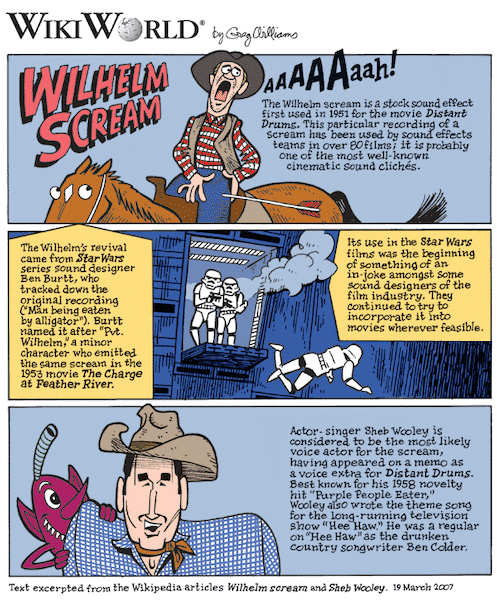 Cartoon version of the famous Wilhelm Scream from movies