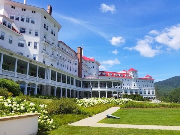 The back entrance to the Omni Mount Washington in Bretton Woods New Hampshire - with at least one haunted room