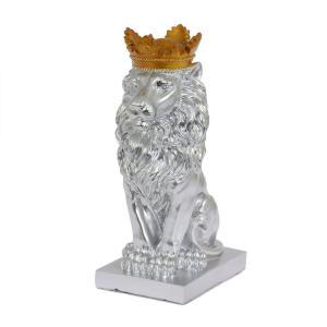 Dekoration Lejon med krona Silver
