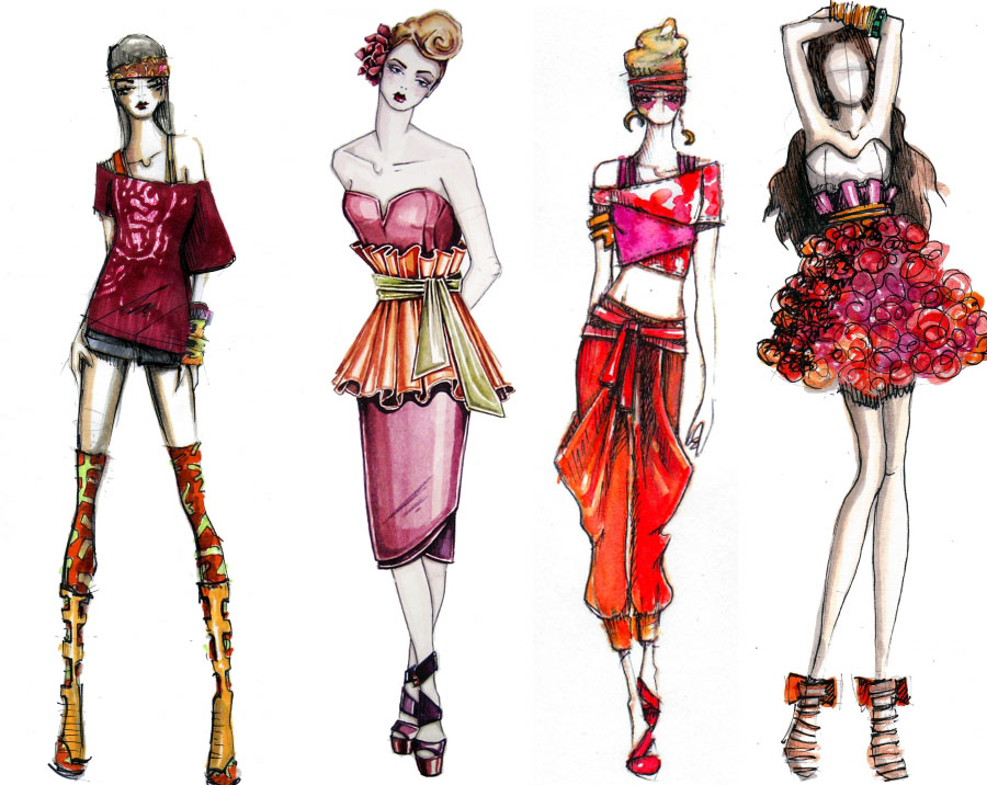 Fashion illustration drowning in design Contemporary fashion designers