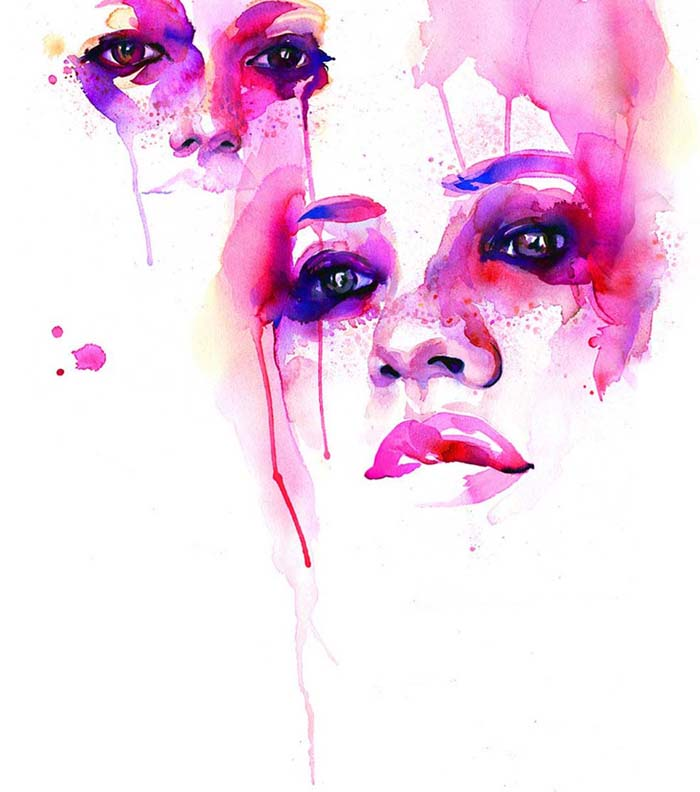 Marion Bolognesi Watercolor Faces