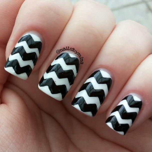 Image result for black chevron nails