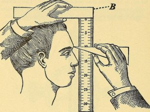 Drawn image of a person's face being measured by a ruler.
