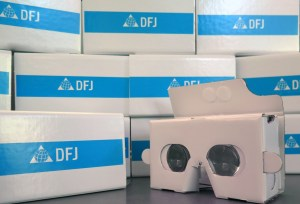 Picture of several Google Cardboard devices.