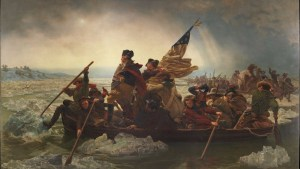Image of George Washington crossing the Delaware River.