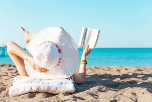 reading in beach