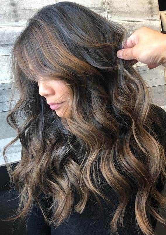Dimensional brunette hair color ideas for long hair in 2020