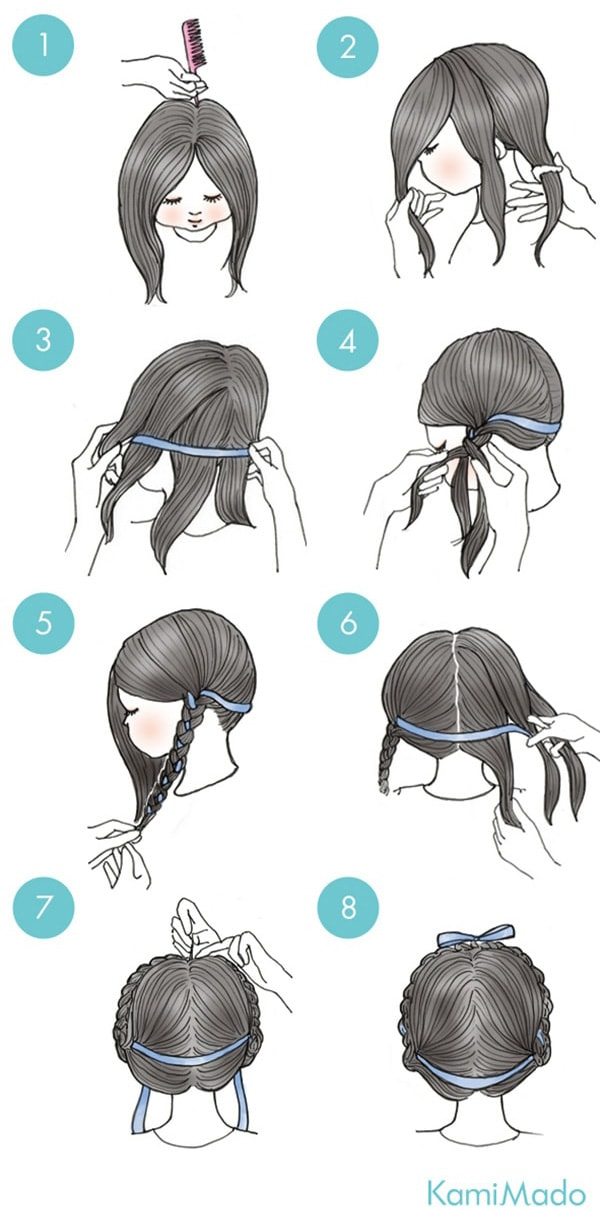 Hair With Ribbon And Braid