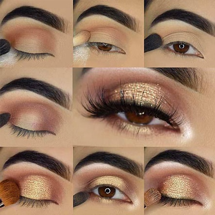 Golden Bridal Wedding Day Eye Makeup