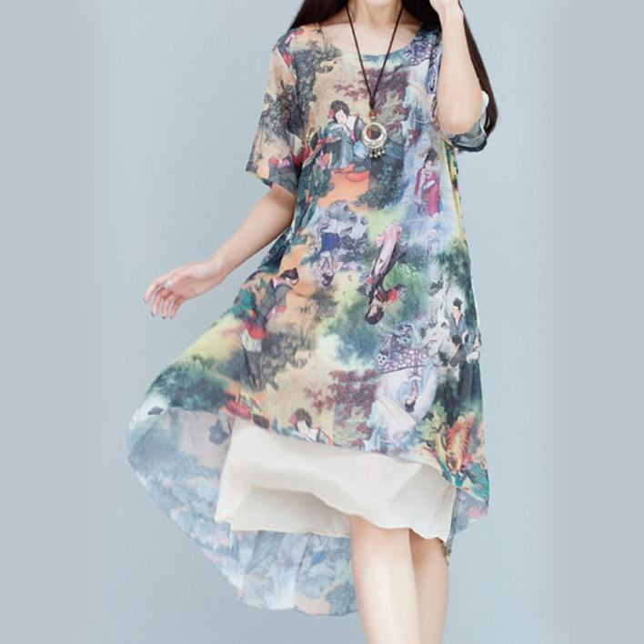 Women Ethnic Printed Two Pieces Dresses