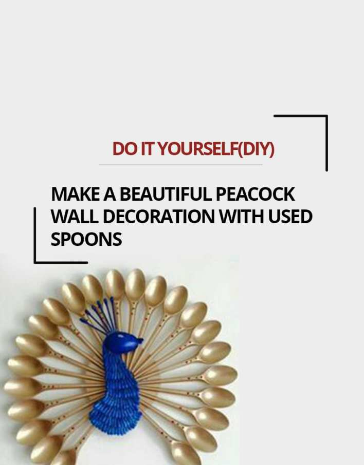 Diy Make a beautiful Peacock Wall Decoration With Used Spoons
