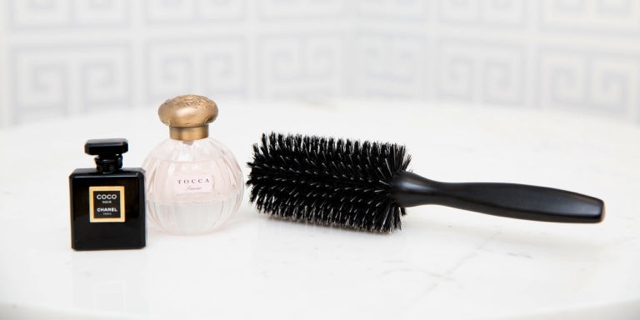 Image result for perfume on hairbrush