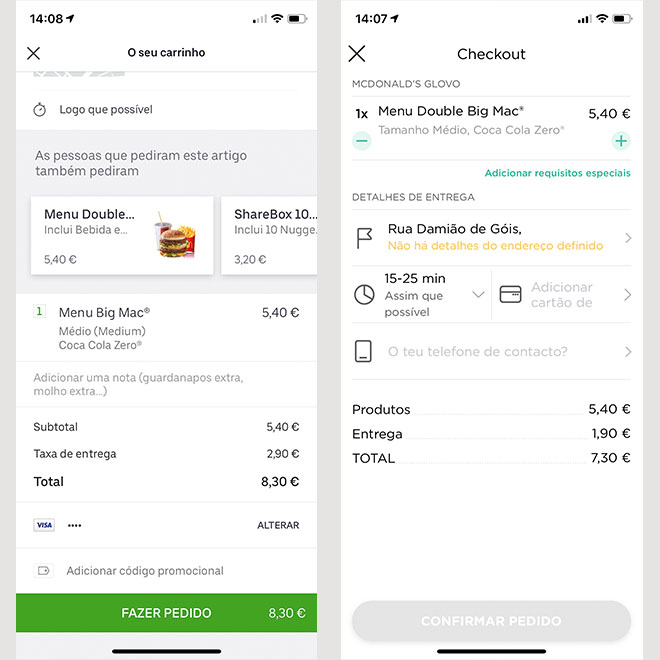 Uber Eats vs Glovo Macdonalds
