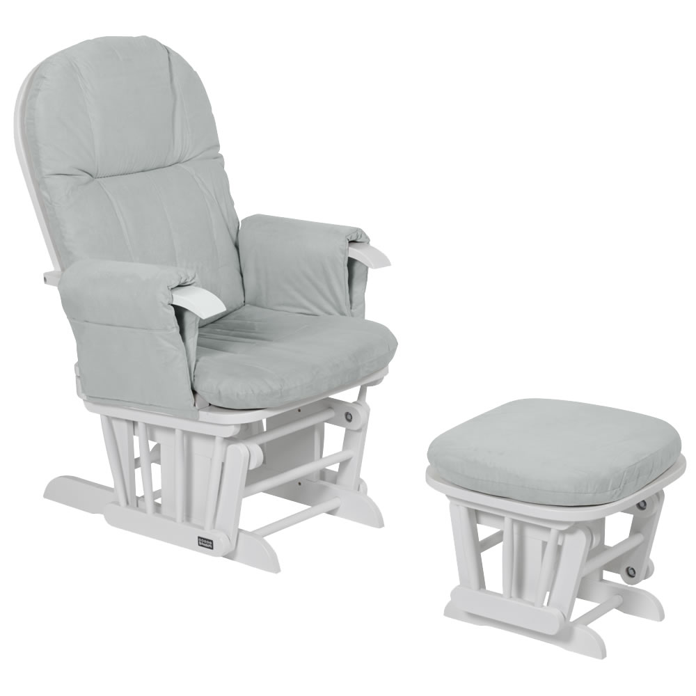 Cushions For Glider Chairs Tutti Bambini Gc35 Reclining Glider Nursing Chair Stool White With Grey Cushions