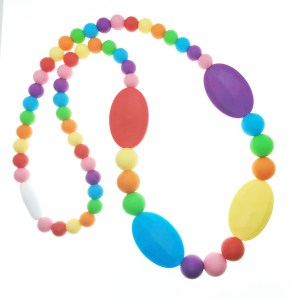 Silicone nursing necklace in rainbow colors