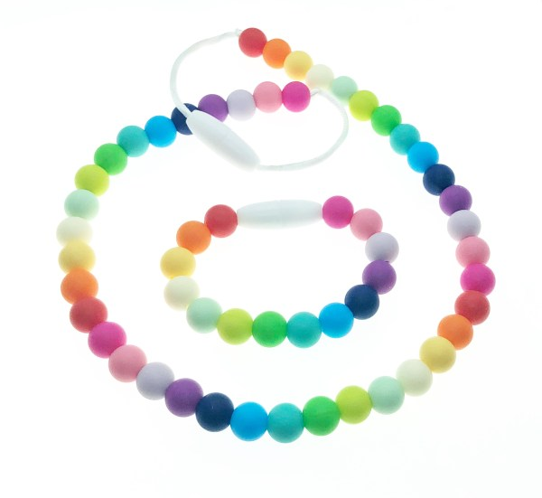 rainbow colors silicone necklace and bracelet set for kids