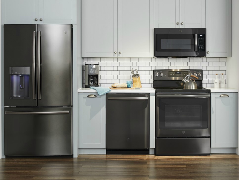slate kitchen appliance package corner bench seating for ge black stainless steel appliances at best buy