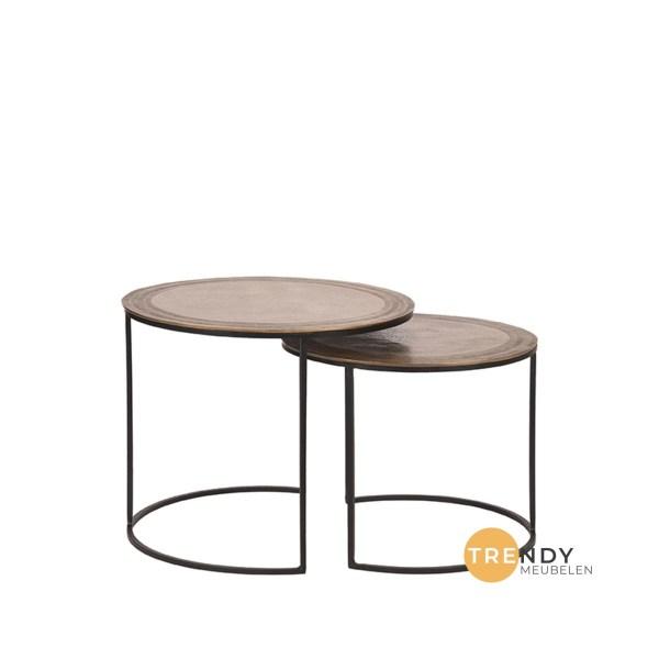 Salontafel Set Circle Antiek Goudbrons Metaal 55x55x45 cm 48x48x39 cm Voorkant