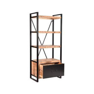 boekenkast brussels lade rough mangohout 80x45x185 cm perspectief 2