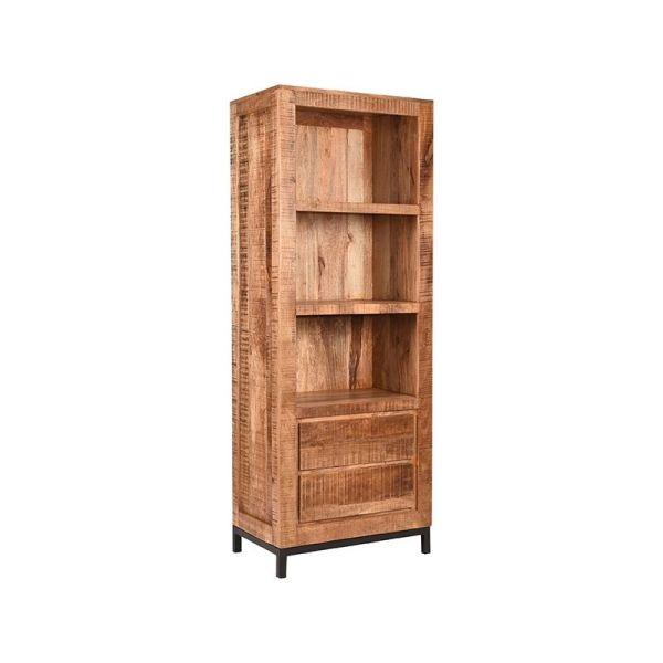 boekenkast ghent rough mangohout 70x45x185 cm perspectief 2 1