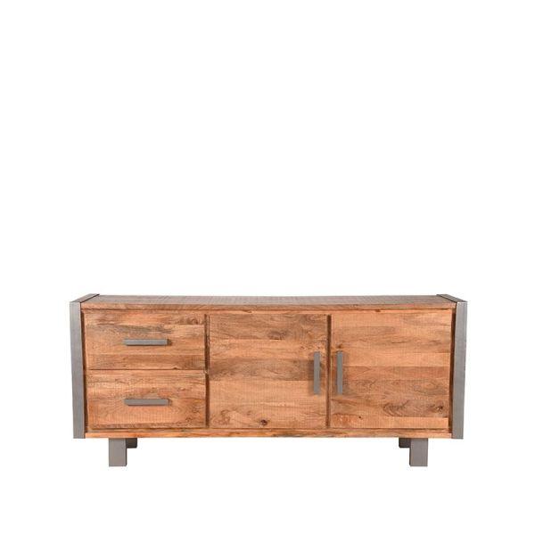 dressoir factory rough mangohout vintage metaal 180x45x80 cm voorkant