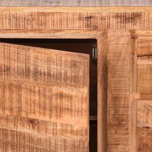 dressoir ghent rough mangohout zwart metaal 190x45x87 cm 3 lades 2 kasten detail