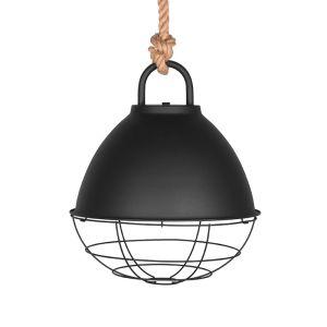hanglamp korf zwart metaal touw 48x48x56 cm voorkant