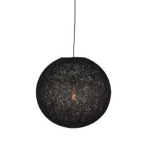 hanglamp twist zwart vlas 30x30x30 cm voorkant aan 1