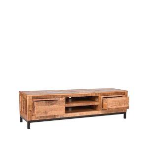 tv meubel ghent rough mangohout 160x45x45 cm perspectief