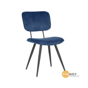 Eetkamerstoel Vic Blauw Ribcord 49x60x87 cm