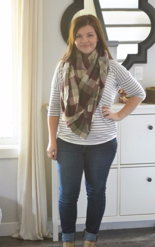 Striped-Shirt-Blanket-Scarf-Jeans-Ankle-Boots-Petite-Curvy-Mom-Style-313x557