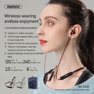 REMAX Neck-Band Sports Wireless Earphone RX-S100 (Support SD card)