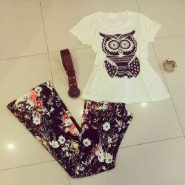 Trendy Store_T-shirt e flare em floral dark