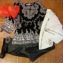Trendy Store_Blusa estampada, calça em couro ecológico e jaqueta em couro ecológico