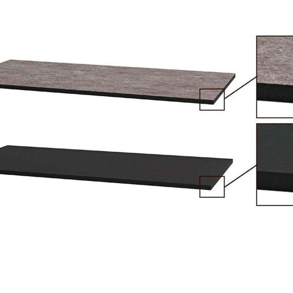 HPL Benkeplate tosidig grå og sort 60-200cm