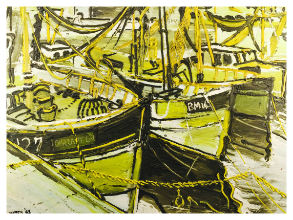Yates, Fred (1922 – 2008) – Fishing Boats in Harbour - Trent Art