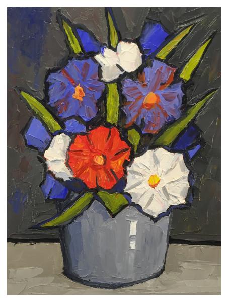 Red White & Blue Flowers Still Life, David Barnes