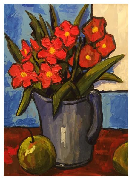 Jug of Flowers with Apples, David Barnes