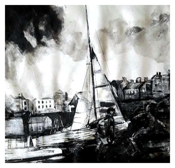 Pearsall, Ian R. (1967 – ) Bringing up the boats (Tenby) - Trent Art