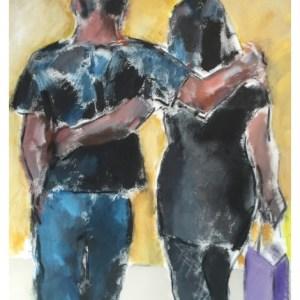 Howard, Ghislaine (1953 – ) Couple Arm in Arm (Canvas)