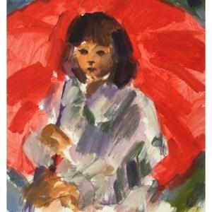 Howard, Ghislaine (1953 – ) Cordelia with Red Umbrella
