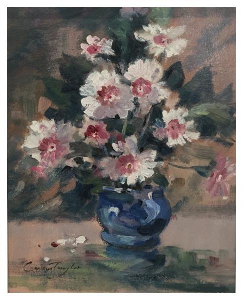 Taylor, Ivan (1946 – ) Pinks in a Blue Vase - Trent Art
